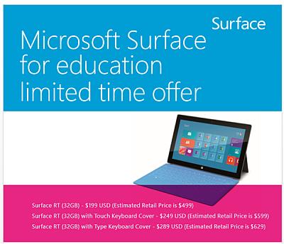 Surface RT táblagépek iskolásoknak elérhető áron