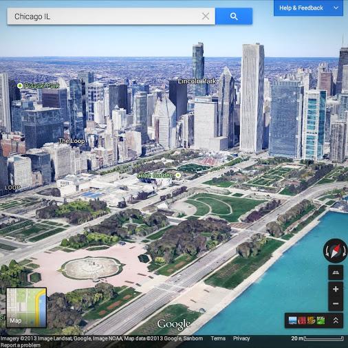 50 USA város 3D-bena Google térképen